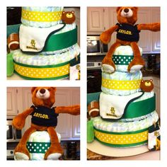 Custom #Baylor Bear Diaper Cake by CreationsbyKriss10 on Etsy, $75.00 @Baylor Proud