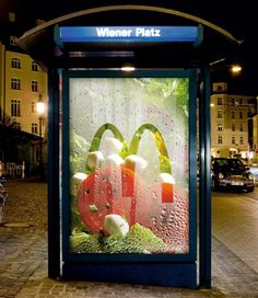 What's Good: The immediacy. It freshness makes you salivate! Creative Outdoor Advertisement Design - McDonalds Salad buses, foods, boxes, advertis, design art, mcdonald, funny commercials, salads, bus stop
