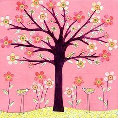 Nursery Art Print on Wood Cute Pink Retro Flower Bird by Sascalia, $35.00