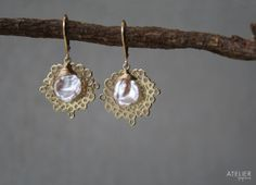Freeform Circle & Keshi Pearl Earrings by ATELIERGabyMarcos, $65.00