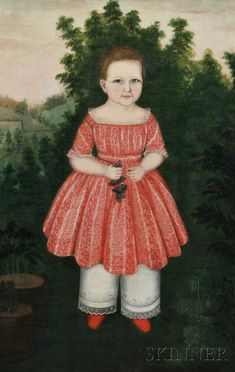 "Susan C. Waters (American, 1823-1900)   Portrait of Ann Eliza Collins Aged 2 Years, 1845, in a Landscape Holding a Cluster of Grapes.   Signed, dated, and titled in painted inscriptions on the back of the canvas ""Ann Eliza Collins Aged 2 Years/1845/Painted by Mrs. S.C. Waters."" Oil on canvas, 46 x 29 in., in a period molded giltwood frame. Condition: Tacking edges relined, minor retouch, repaired tear l.r."