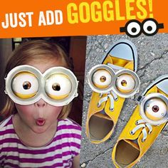 Want your own pair? Go to http://despicableme.com/tag/justaddgoggles and to print your own minion goggles. Use #JustAddGoggles when uploading pictures for a chance to be pinned to this board!