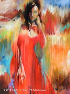 Figure Art • Abstract Nude Art • Modern Figure Painting Reproduction • Red Dress • Contemporary Nude Fine Art Print
