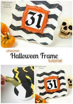 cutest Halloween frame ever. great tutorial on distressing too. #halloween #craft #chevron