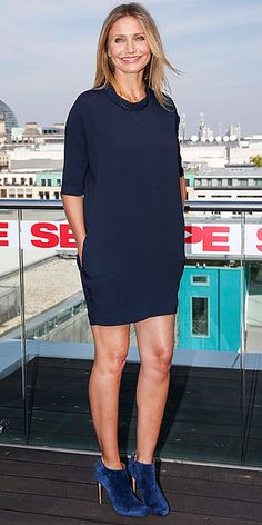 CAMERON DIAZ   The actress must've heard that we sent a prayer up to the fashion gods for a new go-to fall night-out look when she picked this navy shift that's decidedly not body-con, plus slightly-brighter-blue suede booties, for a Sex Tape photocall in Berlin.
