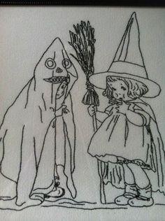 Vintage Style Halloween Embroidery Stitchery Witch Ghost Pattern | eBay halloween embroidery patterns