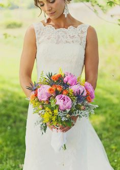 summer wedding bouquet | photo by  Kelly Maughan Photography | 100 Layer Cake