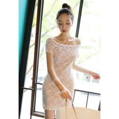 $10.18 Sweet Bateau Neck Lacework Design Off-The-Shoulder Lace Bodycon Dress For Women
