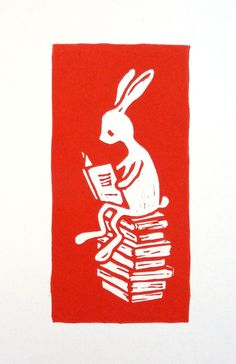Reading A Book, Linocut.