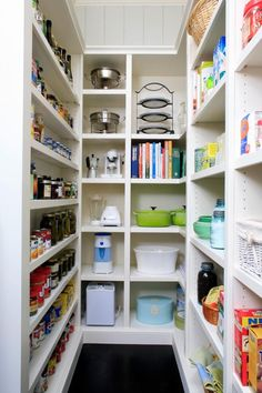 Long and narrow pantry with shelving everywhere.