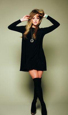 Black long sleeve tunic dress + knee highs