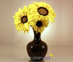 Set of 3 Sunflowers by ColdPorcelainArt www.coldporcelainart.com #flowers, #sunflowers, #coldporcelain