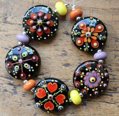 Hallows patchwork Lampwork bead set by Pixie Willow by pixiewillow