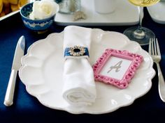 Colorful Place Cards in Simply Elegant Dinner Party from HGTV