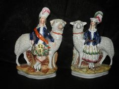 PAIR ANTIQUE STAFFORDSHIRE FIGURES OF BOY & GIRL STANDING IN FRONT OF SHEEP | eBay