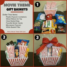 movie gift idea | gift ideas / Movie Theme Gift Basket (using Dollar Tree Items)