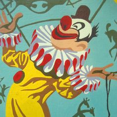 Vintage circus clown painting  My Grandma's Attic  Etsy