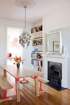 Timber with Fluoro Dining Table/Cast Iron Fireplace/Light Feature