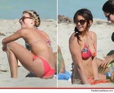 Julianne Hough & Nina Dobrev -- The Bikini 3-Way On the Beach