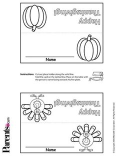 Make Your Own Place Cards  Print out enough place cards for each guest. Cut out on the solid black lines, color in the pictures, and write each guest's name. They'll love it