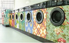 Wall paper a washer/dryer? The practical side of me says no, but it's so pretty...