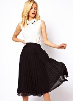 Black High Waist Pleated Chiffon Skirt
