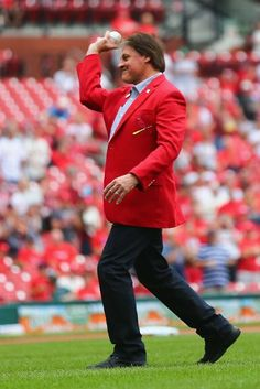Former Cardinal Manager Tony La Russa throws out the ceremonial first pitch on 8-17-14