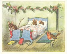 sweet little mice hanging up their stockings for Christmas with holly and bird - Molly Brett illustrator vintage