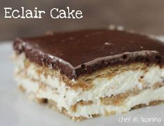 Eclair Cake from chef-in-training.com … This cake is AMAZING! One of my most requested recipes and always a crowd favorite!