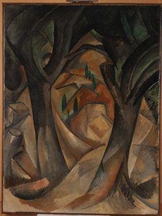 """Leonard A. Lauder cubista Collection en audio e imágenes - Función Multimedia - NYTimes.com """"ÁRBOLES EN L'ESTAQUE"""" Georges Braque, 1908 Braque comenzó a inventar el cubismo, rompiendo la perspectiva lineal tradicional y luz / oscuridad de modelado en la emulación de la obra de Cézanne."""