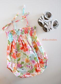 delia creates: Smocked Baby Romper Tutorial