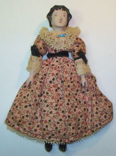 """RARE Vintage Wood Wooden Peg 6"""" HITTY DOLL Jointed Signed by Sherman Smith 1965"""