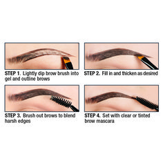 a step-by-step pictorial using our NEW Eyebrow Gels!