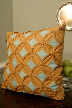 "mod mustard ochre yellow aqua handmade quilted pillow 17"" square. $22.00, via Etsy."