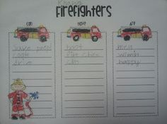 Firefighters can / have / are, Community Helpers firefighter writing, fire safety