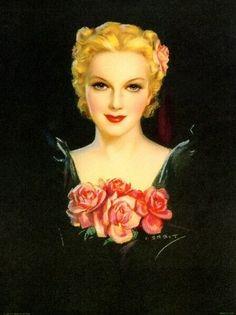 Jules Erbit vintage illustration roses art