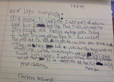 Charlotte's Letter to Lego via the societypages #Letter #Lego