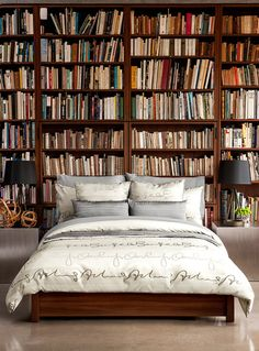 Like I could sleep with all that possibility. bedroom bookshelf, wall of bookshelves, books in bedroom, bedroom bookshelv, guest bedrooms, dream bedrooms, book collection, sweet dreams, dream rooms