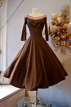 50s Dress // 50s Cocktail Party Dress // Vintage 1950s Silk Brown and Pink Embellished Dress Size S. $148.00, via Etsy.