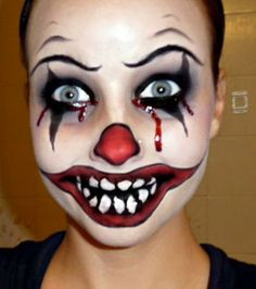 Evil Clown Makeup - awesome Halloween make up :)