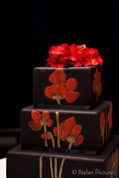 Tattoo inpired Black #Wedding cake- designed by #White Rose Bakery cake wedding, blue flowers, black weddings, rose bakeri, white roses, bakeries, cake design, chocolate wedding cakes, cake galleri