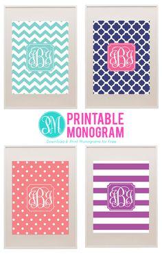 printable monogram site PrintableMonogram.com