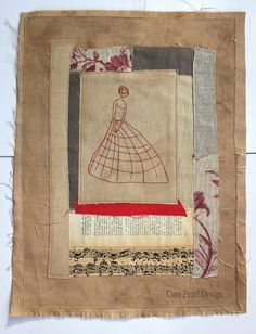 Mixed Media Hand Embroidery Fabric Art Collage by CoraPearlDesign