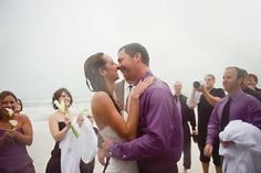 Read all about Jenn & Mike's rainy day wedding + baptism on the beach on Poptastic Bride. Photos by Red Bird Hills Photography.