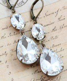 Bridal Earrings Vintage  Crystal Repurposed by inspiredbyelizabeth, $22.50
