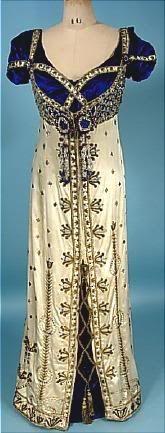 auction, edwardian fashion, 1910, costum, evening dresses, evening gowns, jewel satin, antiques, velvet gown