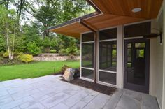 Modern screen porch on pinterest insects granite and for Maximum granite overhang without support