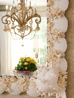 Beautiful large white seashell mirror.