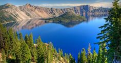 Oregon's 1,943ft-deep Crater Lake is fed almost entirely by snow and rain