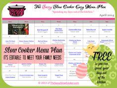 April Crockpot Meal Plan